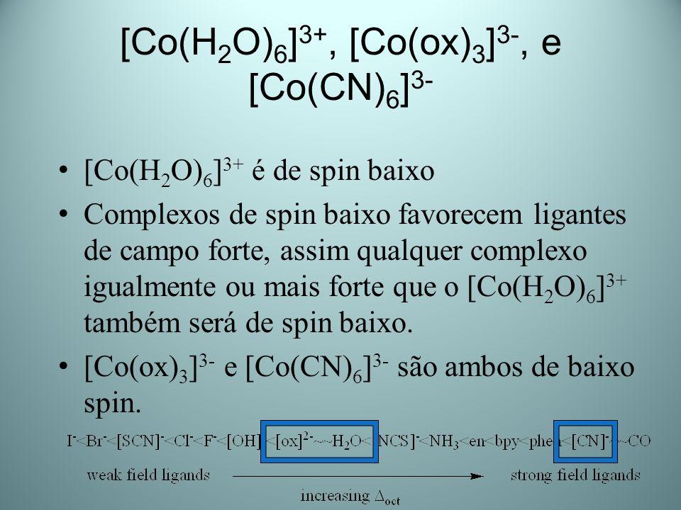 [Co(H2O)6]3+, [Co(ox)3]3-, e [Co(CN)6]3-